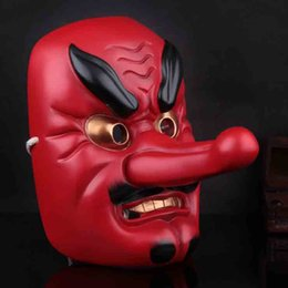 Wholesale Japanese Samurai Red - Japanese Noh Drama Film Mask Collection Buddhist Prajna Samurai Tengu Mask Full Face Resin Cosplay Props Halloween Party Costume Accessories