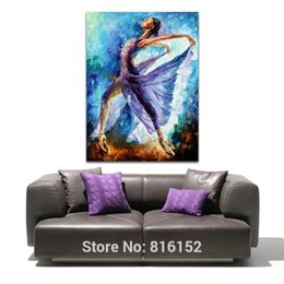 Wholesale Dance Oil Painting Canvas - Purple Dress Girl Butterfly Dance Abstract Figure Palette Knife Oil Painting Canvas Prints Mural Art Home Living Room Wall Decor