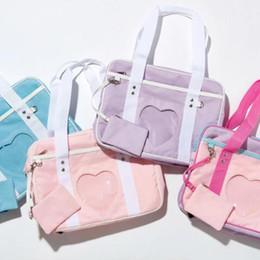 Wholesale School Uniform Pink - New Ita Bag Japanese Heart Window School Bag Girl Pink JK Uniform Handbag Shoulder Bag Tote Lolita Cosplayer Fashion Totes CCA8417 50pcs