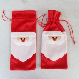 Wholesale Santa Claus Table - Red Wine Bottle Cover Bags Christmas Dinner Table Decoration Home Party Santa Claus Christmas Supplier Free Shipping