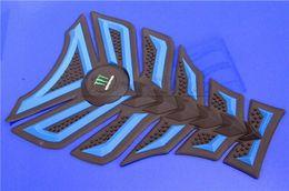 Wholesale Suzuki Blue Decals - Free shipping 6PCS For YAMAHA HONDA SUZUKI BMW KAWASAKI 3D Decal Sticker Motorcycle Polyester Rubber Tank Pad Protector Blue
