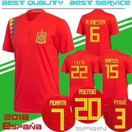 Wholesale Short Black Cup - 2018 World Cup spain Soccer Jersey Home 3 PIQUE ISCO 20 ASENSIO RAMOS thai Football red shirt MORATA SILVA INIESTA Saùl Thiago MATA