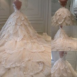 Wholesale Cheap Sexy Lace Ball Gowns - Luxury 2016 Bling Michael Cinco Wedding Dresses Ball Gown Tiered Crystal Sequins Backless Cheap Long Chapel Train Plus Size Bridal Gowns