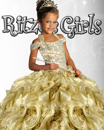 Wholesale Size Pageant Girls - Mew Arrival Girl Pageant Dress Floor Length Rhinestone Glitz Beauty 2016 New Plus Size Pageant Dress Flower Girl Dresses 6906