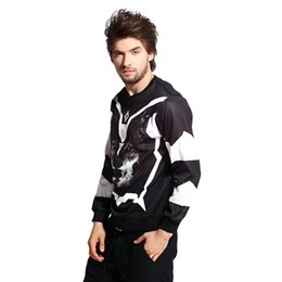 Wholesale Sweat Hba - 2015 Autumn Wolf Sweatshirt Men 3D Print Hoodies White Black O-neck Hba Hoodie Men Street Wear Sweat Homme Free Shipping