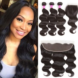 Wholesale Mongolian Remy Lace Frontal - Brazilian Hair 8A Body Wave Weaves with Frontal Closure Unprocessed Human Hair Bundles and Lace Closure Peruvian Malaysian Hair Extensions