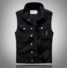 Wholesale mens vest patterns - Sleeveless Jeans Vest Men Jackets Embroidery Character Mens Denim Motorcycle Vest Vintage Men Jean Waistcoat