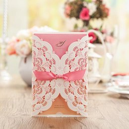 Wholesale Marriage Card Decoration - 2016 New Style Flower Wedding Invitation Card Marriage Pink Rectangle Invitations with Bowknot Party Decorations Custom Made
