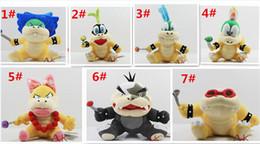 "Wholesale Wendy Koopa Toy - 30pcs Cartoon Super Mario plush toys Wendy Larry Lemmy Ludwing O. Koopa Plush Sanei 8"" Stuffed Figure Super Mario Game Koopalings Dolll D408"