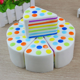 Wholesale Cheap Toys Free Shipping - Cheap Kawaii Cake Squishy Slow Rising 20s Rainbow cake Cream Cake Kids New Year Toy Gift free ship