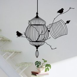 Wholesale Bird Cage Bedroom Stickers - Birds cage & tree branch creative modern vinyl wall sticker removable waterproofing home wall decal Free shipping