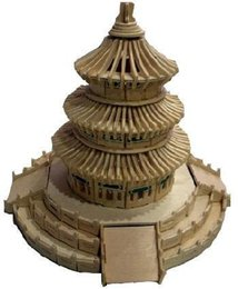 Wholesale 3d Wooden Puzzle House - Wholesale-2015 Real Educational Toys 3d Wood Puzzle Wooden Model Miniature Doll House Toy Chinese Beijing Temple Of Heaven Free Shipping