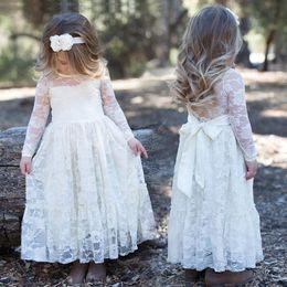 Wholesale Sheath Ivory Flower Girl Dresses - 2018 Vintage Long Sleeve Lace Cheap Flower Girls Dresses For Wedding Bride Sheath Illusion Sheer Neck Long Little girls Dresses