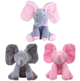 Wholesale Anti Music - New Style Peek a Boo Elephant Stuffed Animal Plush Toy Play Music Elephant Doll Educational Anti-Stress Toy for Kids Children