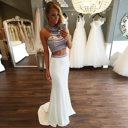 Wholesale Nice Mermaid Dress - Sexy Two 2 Piece Crop Top Prom Dresses 2016 Fashion Halter Nice Beaded Diamond Rhinestones Mermaid Prom Gown Formal Maxi Dress 2016 New