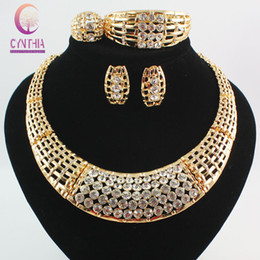 Wholesale Chunky Rings Women - Fashion African Costume Jewelry Sets 18k Gold Plated Crystal Chunky Necklace Bangle Earrings Ring Women Bridal Party Gift Set