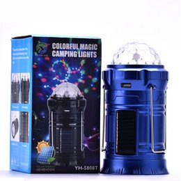 Wholesale Portable Outdoor Stage - 2017 Solar stage lamps Outdoor LED Camping Lantern Solar lights Collapsible stage Light Outdoor Camping Hiking Super Bright led Lights