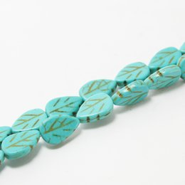 Wholesale Dyed Turquoise Beads - Wholesale-9*13mm Turquoise Leaf Beads Synthetise Dyed 15'' Jewelry Beads BTB201-44
