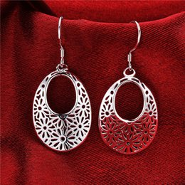 Wholesale Hollow Carved Earring - Brand new sterling silver Hollow carved earrings DFMSE581,women's 925 silver Dangle Chandelier earrings 10 pair a lot factory direct