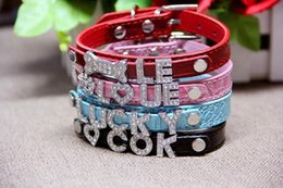 Wholesale Collar Dog Sliders - 30% Mix 7colors 4sizes Croc Pu leather Personalized DIY Name Charm Dog Pet Collar Pet Supplies (Price exclude sliders) 200pcs 522
