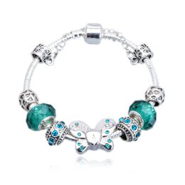 Wholesale European Bead Faceted - Elegant Butterfly Charm Bracelets Faceted Crystal Murano Glass Beads & Cubic Zirconia Snake Chain Bangle Bracelets BL031