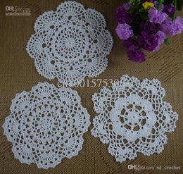 Wholesale Free Doily Patterns - Free Shipping 60PCS Handmade Crochet pattern doily 3 designs cup Pad mats table cloth Vintage Custom Colors 18-20cm ab3h67