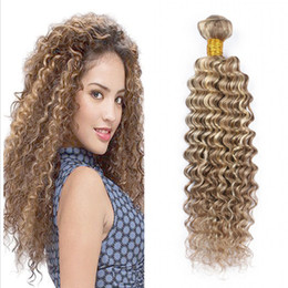 Wholesale brown hair extensions highlights - Highlight Deep Wave 8 613 Piano Color Brazilian Virgin Human Hair Wefts 3 Bundles Deep Wave Curly Brown Blonde Mix Ombre Hair Extensions