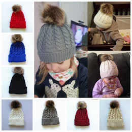 Wholesale baby winter fur hat - Kids Winter Knitted Hat Pompom Ball Warmer Wool Fur Baby Boys Girls Caps Crochet Knitted Hats Skull Caps Pompom Beanies