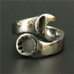 Wholesale Spanner Jewelry - 3pc lot Wholesale New Arrival Silver Spanner Ring 316L Stainless Steel Top Quality Men Boy Fashion Jewelry Spanner Biker Ring
