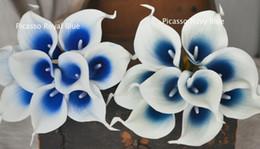 Hochzeit herzstücke blumen blau online-Hochzeit Picasso Royal Navy Blue Calla Lilien Real Touch Blumen für Seide Brautsträuße Hochzeit Mittelstücke Dekoration Blume