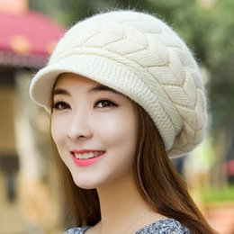 Wholesale Duck Ear Cap - Wholesale-2015 new fashion autumn and winter warm female hats Knit Wool Hat Cap duck tongue rabbit ear double warm winter tide hats H2