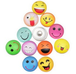 Wholesale Smile Face Button - NOOSA 18mm glass smiling face noosa Interchangeable Snap Buttons DIY Jewelry Accessory Ginger Snap Jewelry for woman