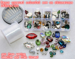 Wholesale colorful sewing buttons - Wholesale-colorful crystal rhinestone! 143pcs lot Mixsize Sew On Rhinestones Flatback With metal claw setting Sewing Crystal Stones button