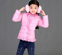 Wholesale Cute Jackets For Kids - 2015 Hot Sale Winter Kids Down Coats Lace Collar Hem White Duck Down Filling Children Jackets Thicken Fashion Outwears For Girls CR383