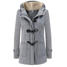 Wholesale Green Wool Trench Coat - Winter Autumn Women Horn Button Outwear Slim Zipper Hooded Coat Female Wool Blends Trench Coat 2017 New Fashion