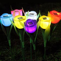 fiori artificiali per esterni Sconti Lampada a energia solare Tulipano artificiale Flower Landscape Garden LED esterno per la decorazione della festa nuziale ZA5301