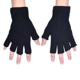 Wholesale Knitted Gloves Wholesale - Wholesale-Amazing Winter Men Black Knitted Stretch Elastic Warm Half Finger Gloves Free Shipping
