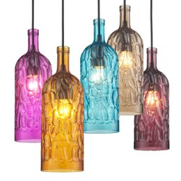 Wholesale Colored Lamp Cord - Colored Watermark Bottle Dining Room Pendant Lamps Creative Bar Cafe Stairs Hallway Balcony Pendant Lights Chandelier