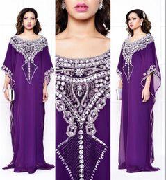 Wholesale Ankara Dresses - 2016 Arabic Dubai Purple Bling Evening Dresses Morrocan Kftan Beaded Rhinestone Chiffon Ankara Formal Party Prom Gowns Vestido Longo BA1743
