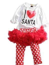 Wholesale Ems Girls Dresses - DHL EMS FEDEX Girls Christmas Tutu Dresses Clothing 2pcs Sets(Long Sleeve T-shirt+Long Dots Skirts Pants) Baby Child Suits 50pcs lot L0753