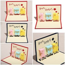 Wholesale Origami For Birthday - 100pcs Little Happiness Train Design Handmade Creative Kirigami & Origami 3D Pop UP Birthday Cards for Baby Kids Shower