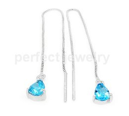 Wholesale Blue Topaz Drop Earrings - Drop earring Natural real blue topaz earrings 925 sterling silver earring Free shipping Perfect Jewelry Fine gemstone #DH-15121808