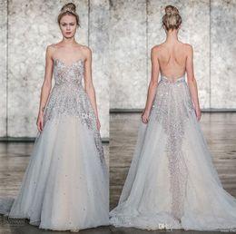 Wholesale Dror Wedding Dresses - heavily embellished bodice romantic wedding dresses 2018 inbal dror bridal spaghetti strap sweetheart neckline open back chapel train