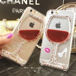 Wholesale Iphone Covers Beer - Luxury Diamond Red Wine Cup and Beer Bottle Liquid Diamond Transparent Case Cover For IPhone 5 6s 6s Plus Phone Cases Back Housing