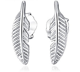 Boucles d'oreilles style plume en Ligne-925 Sterling Silver Stud Earrings Bijoux De Mode Petite Plume Eegant Style Simple Boucle D'oreille pour les Femmes Filles