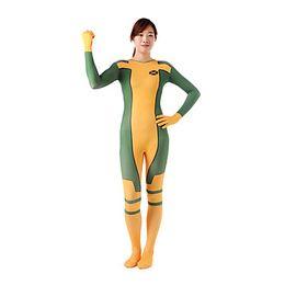 Wholesale Costum Made - X-Men Rogue Womens Green Yellow Spandex lycra zentai Halloween Costume Catsuit S M L XL XXL Or Costum Made