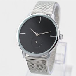 Wholesale Black Silver Dresses - 2017 Fashion Dress Quartz Watch Man Women Steel Brand Watch Silver Luxury Stainless Steel Wristwatch lady Dress Wristwatch free shipping