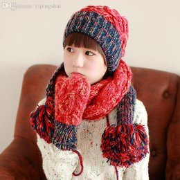 Wholesale Gloves Hit - Wholesale-scarves hats gloves three-piece free shipping new winter thick warm shag mixed colors hit the color line of knitted Ms.