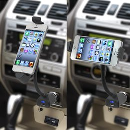 Wholesale Car Iphone Holder Usb - Car phone Holder with usb Charger for IPhone 6 5 180 degrees Rotation Mount Stand Black Color