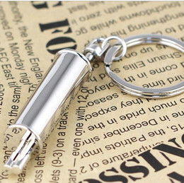 Wholesale Wholesale Chrome Exhaust - Fashion Auto Alloy Exhaust Pipe Keychain Car Accessories Parts Chrome Silvery Key Chain Ring Creative Muffler Keyring Key Fob In Stock